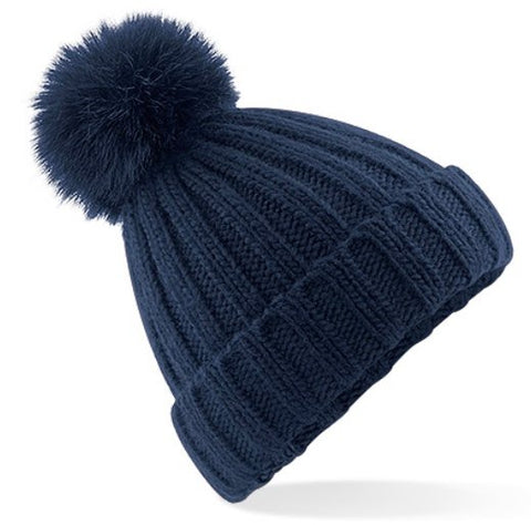 Ribbed Pom Pom Hat - Navy Blue