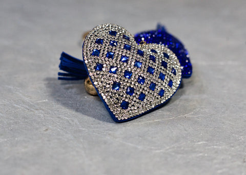 Square Heart Keychain - blue