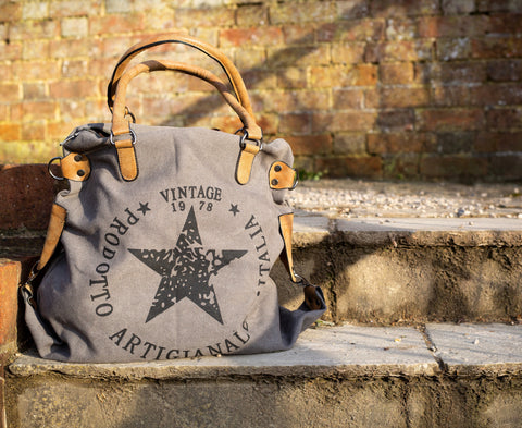 """Vintage"" Large Canvas Bag - Grey"