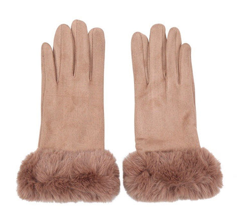 Faux Fur Gloves - Camel
