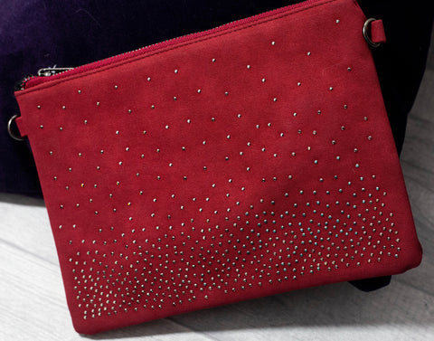 Studded Clutch / Shoulder Bag - Claret