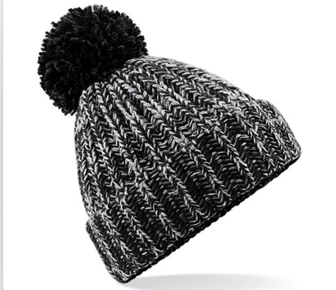 Twisted Pom Pom Hat - Black