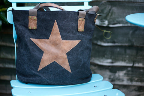 Seconds Star Canvas Bag - Black