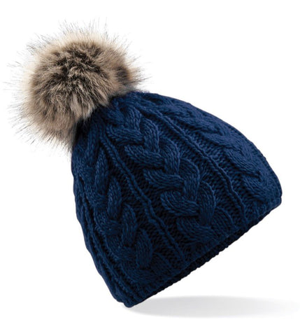 Cable Knit Faux Fur Pom Pom Hat - Navy