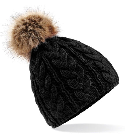 Cable Knit Faux Fur Pom Pom Hat - Black
