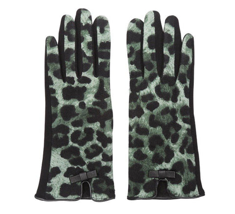 Leopard Print Gloves - Green