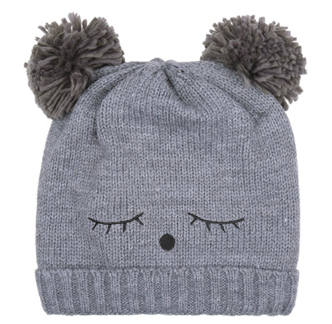 Teddy Bear Pom-Pom Beanie - Grey