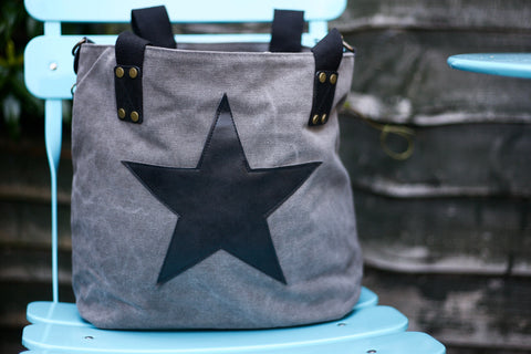 Star Canvas Bag - Grey