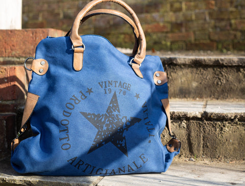 """Vintage"" Large Canvas Bag - Blue"
