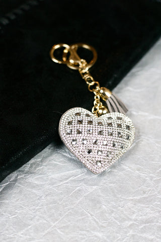 Square Heart Keychain - grey