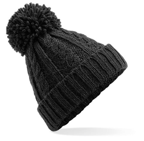 Cosy Knit Pom Pom Hat - Black