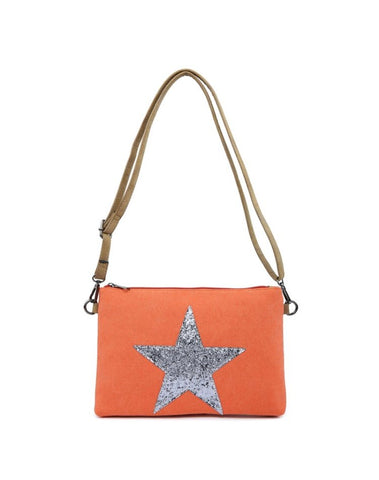 Small Star Clutch / Makeup Bag - Orange with Silver star