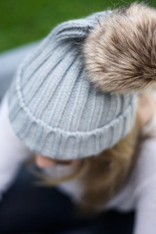 Faux Fur Pom Pom Hat - Pale Grey