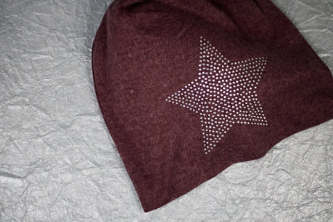 Glitz Star Jersey Beanie - Deep Red
