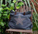 SECOND Large Crystal Encrusted Canvas Star Bag - Grey