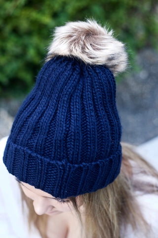 Faux Fur Pom Pom Hat - Navy Blue