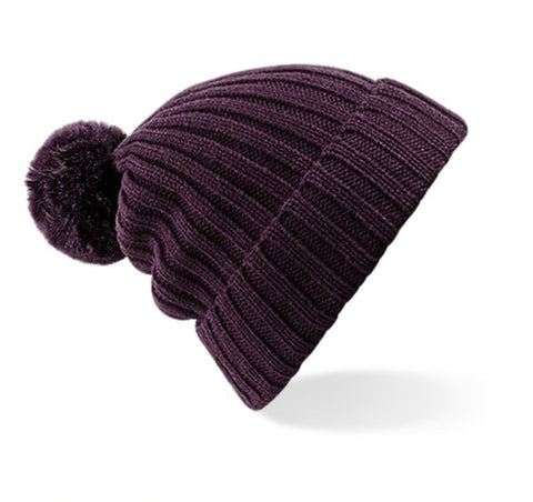Ribbed Pom Pom Hat - Plum