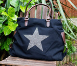 Large Crystal Encrusted Canvas Star Bag - Black