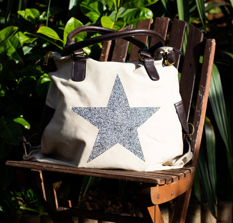 Large Crystal Encrusted Canvas Star Bag - Ivory