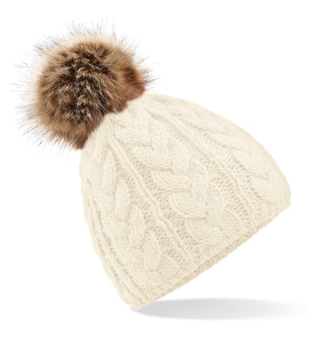 Cable Knit Faux Fur Pom Pom Hat - Cream