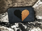 Sequin Heart Wallet - Midnight Blue