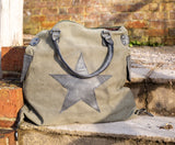 Large Star Canvas Bag - Army Green