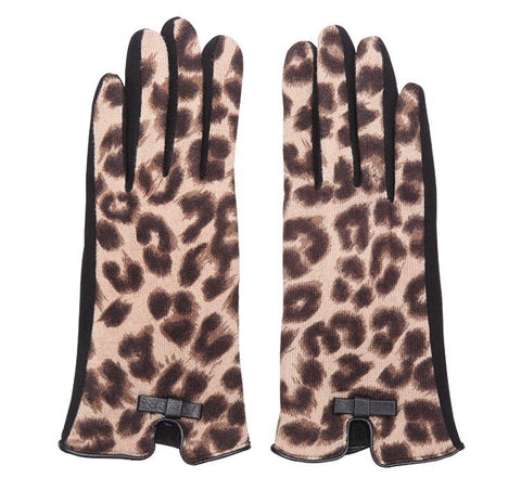 Leopard Print Gloves - Brown