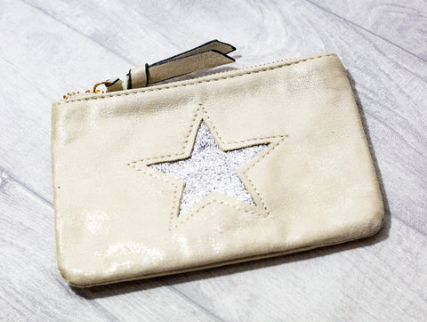 Large Star Coin Purse - Cream