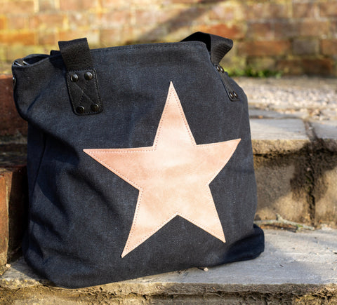 Star Canvas Bag - All Black