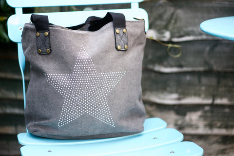 SECOND Medium Stud Star Bag - Grey