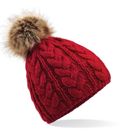 Cable Knit Faux Fur Pom Pom Hat - Red