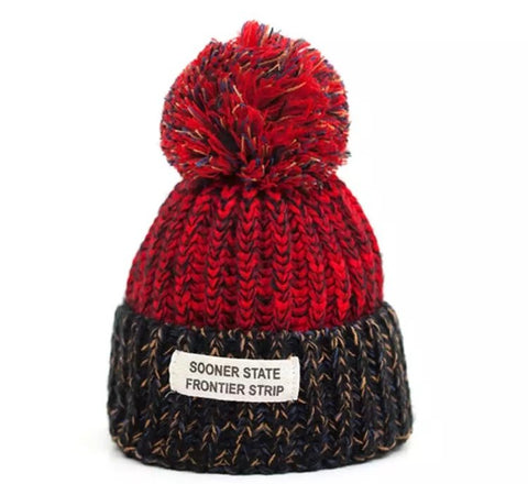 Sooner State Pom Pom Hat - Red