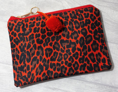 Make-Up Bag / Clutch - Red Leopard