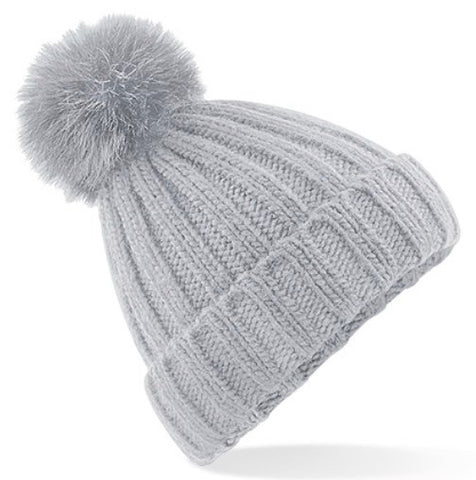 Ribbed Pom Pom Hat - Pale Grey