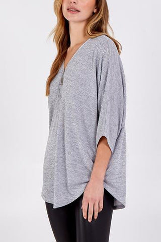 Crystal Zip Neck Top - Grey