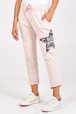 Sequin Star Joggers - Pink