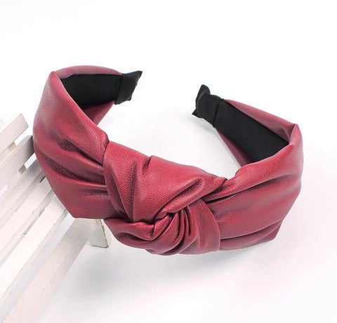 Faux Leather Headband - Merlot