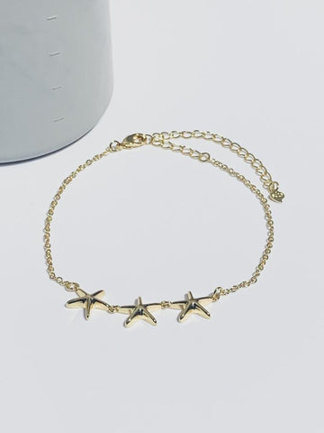 Triple Starfish Anklet - Gold