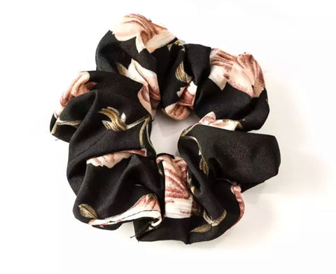 Floral Scrunchie - Black
