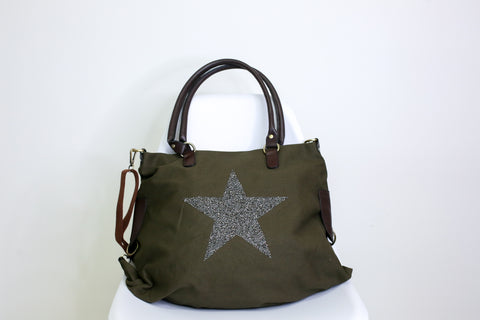 Large Crystal Encrusted Canvas Star Bag - Olive Green