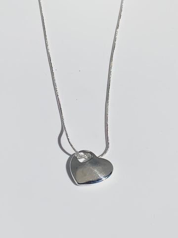 Sterling Silver Flat Heart Necklace