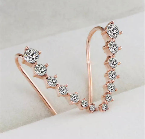 Crystal Ear Climber Earrings - Gold