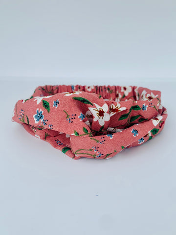 Dark Red Floral Headband