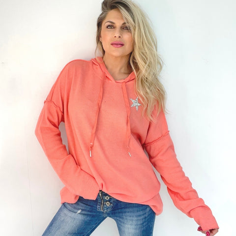 Lightweight Star Waffle Hoodie - Coral