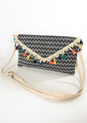 Chevron Tassel Bag - Black