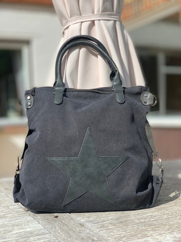 Large Star Canvas Bag - All Black