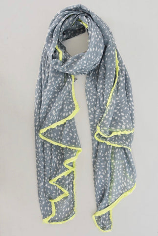 Poppy Scarf - Grey & Yellow