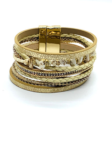 Rock & Rope Wrap Bracelet - Pale Gold