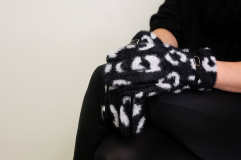 Faux Fur Animal Print Gloves - Black