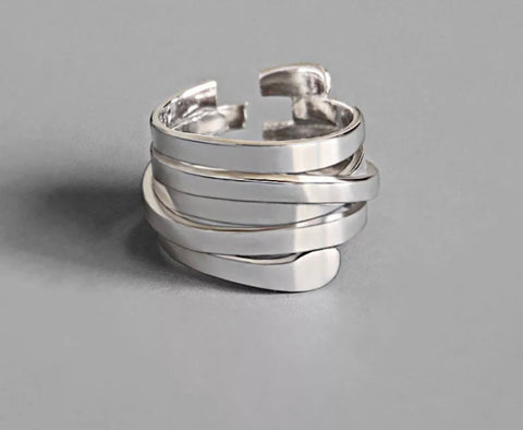 Abstract Layer Ring - Silver